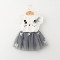 Setelan Kaos T-Shirt Anak Perempuan Lengan Pendek Gambar Kucing Rok
