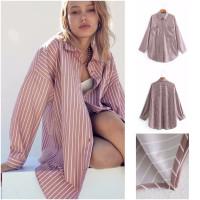 58501 Stripe Two Pocket Shirt / Kemeja Jumbo Garis Cokelat