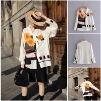 60784 White Sunflower Shirt / Kemeja Putih Bunga Matahari