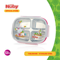 Nuby Stainless 4 Comp Lunchbox Pink
