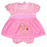 Baju Setelan Dress Bayi Perempuan Katun 3-6 Bulan Motif Kotak Bear