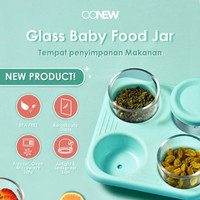 Oonew Glass Baby Food Jar with Silicone Tray Tempat MPASI - 90 ml x 4