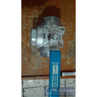 Sankyo Ball Valve 1 inch 3way T Port Mounting Pad SS 316 stop kran ORI