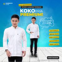 Koko Putih Polos Lengan Panjang Baju Koko Bhs Koko Habaib Hijau