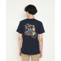 Kaos Pria Erigo T-Shirt Japan Wheels Cotton Combed Navy