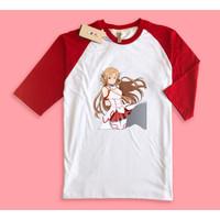 Baju Kaos Raglan Anime Sword art online Asuna