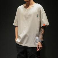 Musim panas Jepang longgar kasual linen lengan pendek T-shirt pria
