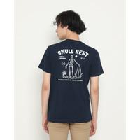 Kaos Pria Erigo T-Shirt Skull Rest Cotton Combed Navy - S