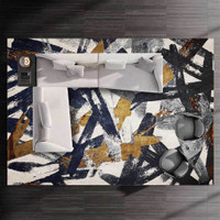 XY Karpet fashion modern emas mewah cahaya biru seni abu abu abstrak