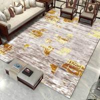 IJ Karpet fashion modern minimalis abstrak emas garis kuning jahitan