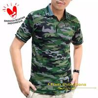 Baju Polo KERA Hijau Police HIJAU - XL Pria Motif Army Loreng Kamo Pol