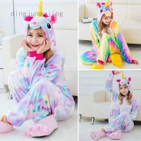 Baju Piyama dengan Gambar Binatang Unicorn Warna Warni Pelangi untuk
