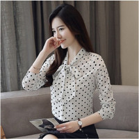 Ready [Qc] Baju Kemeja Shirt Atasan Wanita Lengan Panjang Warna Putih