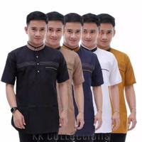 Trendy baju koko pria lengan pendek L XL XXL baju muslim pria bordir A