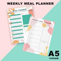 Isi Loose Leaf Planner A5 - WEEKLY MEAL PLANNER/100gram/Kertas Refill