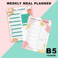 Isi Loose Leaf Planner B5 - WEEKLY MEAL PLANNER/100gram/Kertas Refill