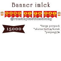 banner imlek gong xi fa cai merah hiasan gantung tulisan chinese new