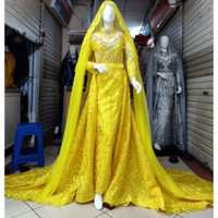 Kebaya pengantin modern warna kuning kenari atau kuning lemon