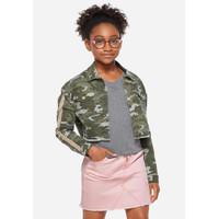 Justice Girls Sequin Stripe Camo Denim Jacket - Jaket Anak - Sz. 12