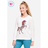 Justice Girls flip sequin snuggly sweater-Sweater Anak-Sz. 6/7-C5