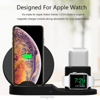 3 In 1 Wireless Charger Desktop Portable Qi Induction For Apple