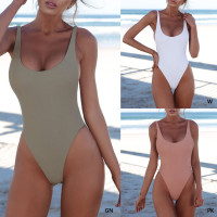 Women Sexy Push Up One-piece Backless Solid Retro Triangle Swimsuit