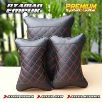 Premium! Bantal Leher Pinggang 2in1 Kulit Sintetis Mobil Kia Sonet