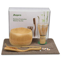 Anpro Bamboo Matcha Tea Whisk Set, Bamboo Whisk Holder Handmade Matcha
