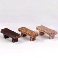 1pc Miniatur Bangku Kayu Panjang Motif Kartun Hewan Bahan Plastik