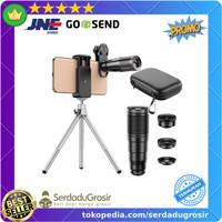 APEXEL 4 in 1 Lensa Smartphone Tele Wide Macro Fisheye