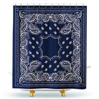 Homewelle Paisley Bandana Shower Curtain Southwestern Mandala Boho Nav