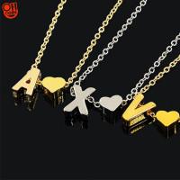 Kalung Rantai Bandul 26 Huruf Bentuk Hati Warna Emas untuk Wanita