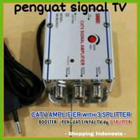 Alat penguat sinyal signal TV disambungkan ke Antena bosster atau