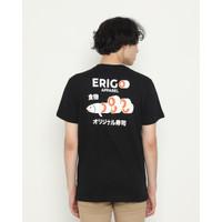 Kaos Pria Erigo T-Shirt Salmon Slice Cotton Combed Black - S