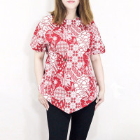 YV8 - Baju atasan batik wanita & cewe lengan pendek blouse kerja