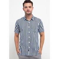 Sharks - Stripes Short-Sleeves Shirt - Putih [SGF111577433]