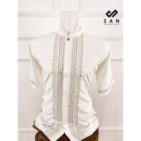 KAHFI baju koko putih semi sutra lengan pendek bordir