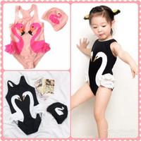 TERL4RIS baju renang anak flaminggo swimsuit baby Topi karakter pink h