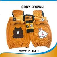 BELLATO Bantal Mobil Cony & Brown Set 5in1 Sarung Jok Set 5in1 Cony &