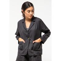 Colorbox Twill Stripe Blazer I:BZWKEY121E028 Black