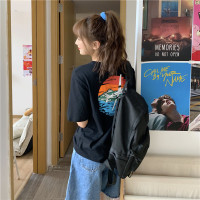 Xiaozhainv ♬Musim panas wanita Korea grafiti cetak fashion T-shirt