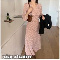 xiaozhainv♬Pakaian wanita Korea V-neck Floral baju lengan panjang