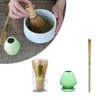 -Matcha Making Tool Set Bamboo Tea Whisk Tea Scoop Ceramic Tea Whisk