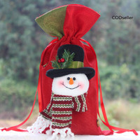 ✫Portable Drawstring Christmas Linen Gift Apple Candy Bag Pouch