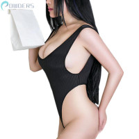 Women's Ladies One piece Solid Backless Romper Bathing suit Thong