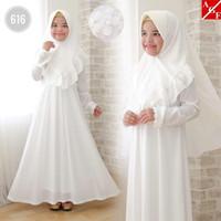 AGNES Gamis Putih Anak Perempuan Baju Muslim Syari Anak Lebaran 616 -
