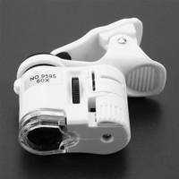 Mikroskop Kaca Pembesar Mini dengan Lampu LED UV untuk Handphone