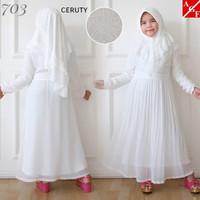 AGNES Gamis Putih Anak Perempuan Baju Muslim Syari Anak Lebaran 703 -