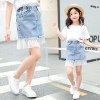 Iu Rok Mini Anak Perempuan Bahan Denim ambungan Meh Untuk Muim Pana