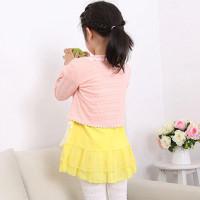 Kardigan dengan Aksen arm Bunga Warna Warni Polos untuk Anak